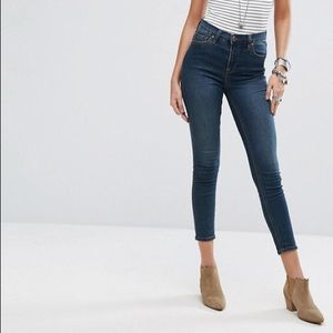 "FREE PEOPLE high rise ""gummy"" ankle cut jeans"